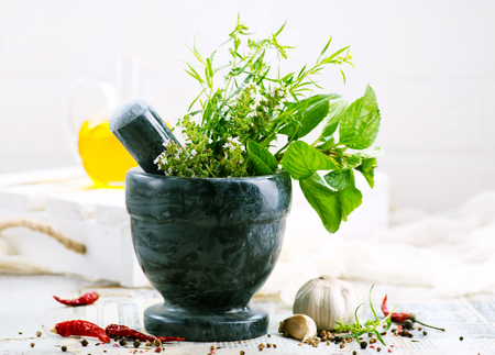 aroma herb and spice on the kitchen table Stock Photo - 123144634