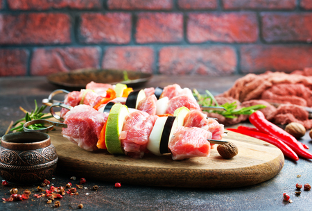 raw kebab with meat and vegetables , meat kebab with eggplant and other vegetables