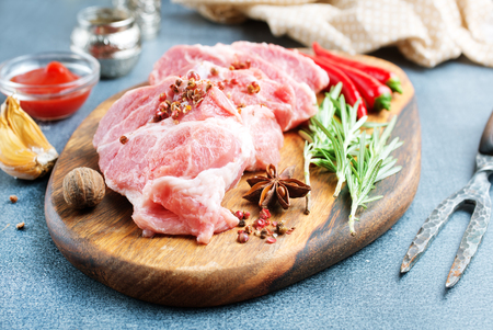raw meat with spice and salt on board