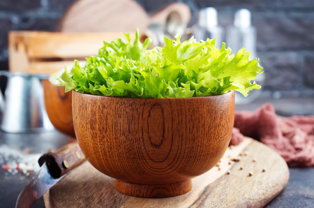 salad leaf in bowl on a table