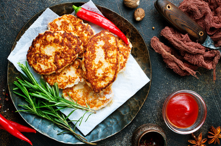 fried cutlets with sauce, chicken cutlets on plate