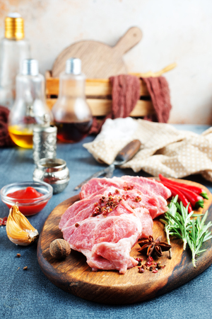 raw meat with spice and salt on board 写真素材 - 123144400