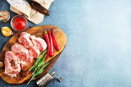 raw meat with spice and salt on board Stock Photo - 123144372