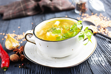 lentil soup in bowl on a table Stock Photo
