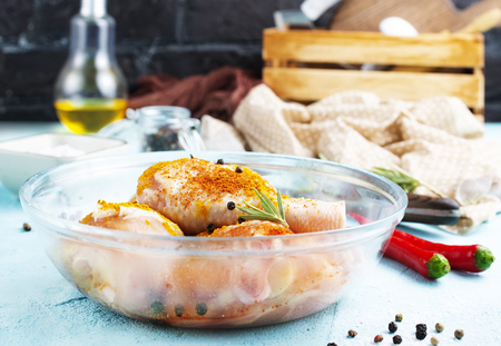 raw chicken legs in bowl, chicken legs with salt and spice