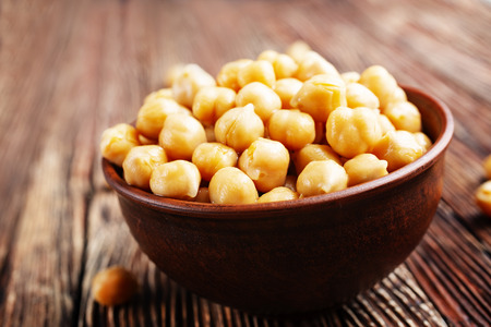 Boiled chickpeas in bow. Vegetarian cuisine from legumes