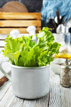 salad leaves in metal cup, fresh salad Stock Photo