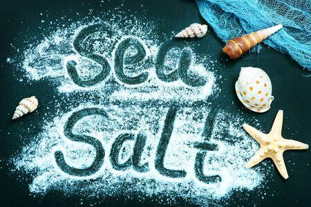 salt on a table, white sea salt Imagens