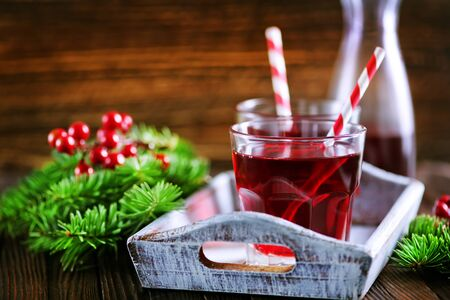 cherry drink in glass, christmas drink in glass