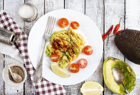 fresh avocado with spice oil and salt Stockfoto