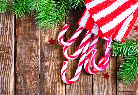 candy canes on a table, christmas background