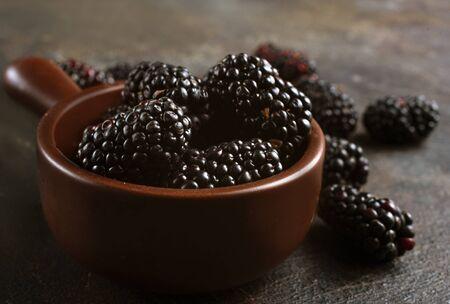 Ripe and juicy BlackBerry, fresh blackberry in bowl