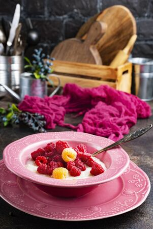 oat flakes with fresh raspberry in bowl
