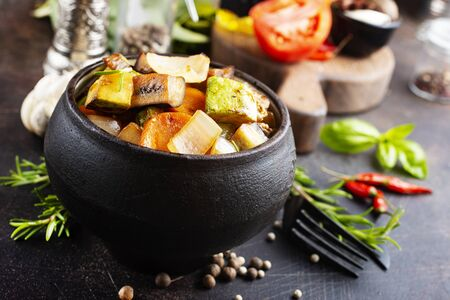 baked vegetables with salt and aroma spice, rayatuille Stockfoto