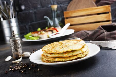 pancakes from potato and zucchini, vegetable pancakes