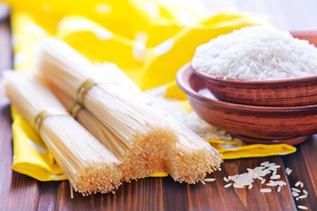 rice noodles and rice on a table Stock Photo