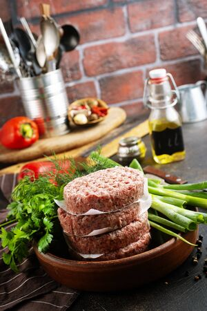 cutlets for burger with fresh greens and spice Stock Photo