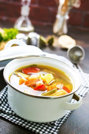 Homemade chicken vegetable soup, stock photo