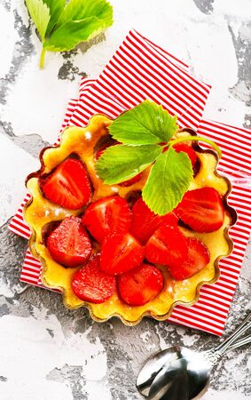 pie with strawberry , strawberry tart on a table