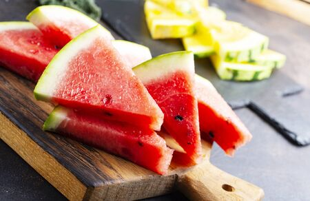 fresh watermelon on board on a table