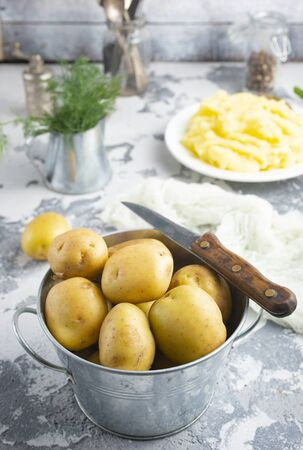 raw potato in metal bowl on a table