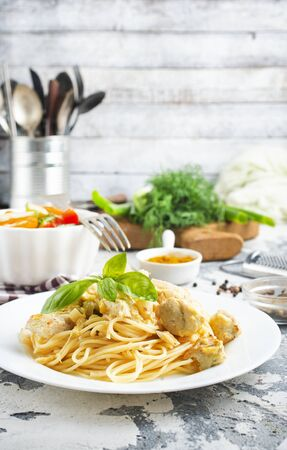 boiled spaghetti with chicken and cheese sauce Zdjęcie Seryjne
