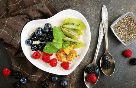 Oat flakes with fresh berries and fruits