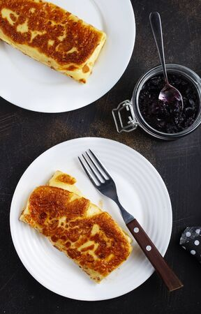 pancakes with cottage cheese and cherry jam