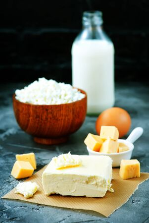 milk,butter and cheese on a table. Stock photo Zdjęcie Seryjne