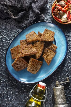 fried dark bread with salt and oil