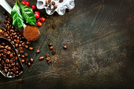 coffee beans on a table, stock photo