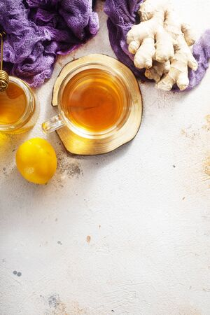tea in cup, tea with ginger and lemon