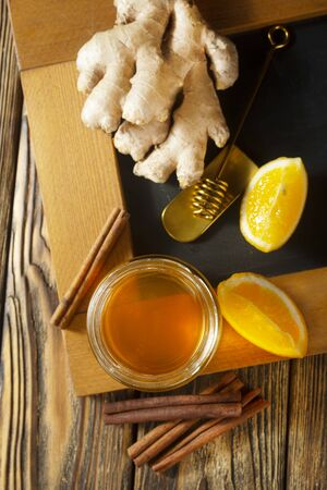 honey lemon cinnamon tea on a table