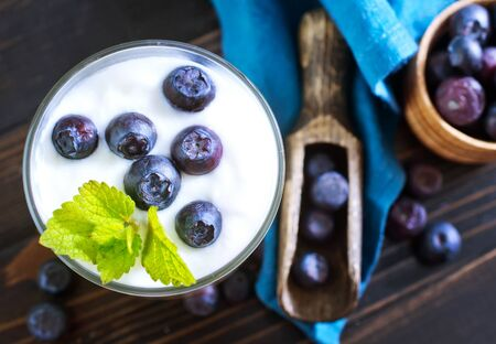 yogurt with blueberry Banque d'images
