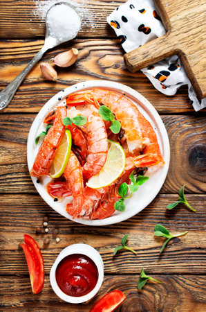 boiled shrimps with tomato sauce and spice