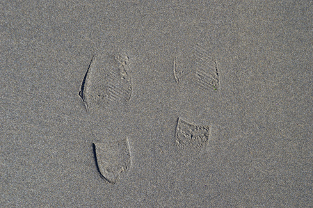 Traces of the person on the sand