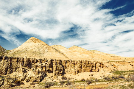 View of big clay hills formed by the wind Stock Photo