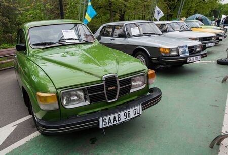 MOSCOW, RUSSIA - May 21, 2017. Retro car show exhibion in Sokolniki park. Saab 96 GL and entire line up of SAAB 報道画像
