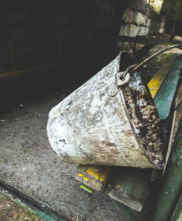 Old metal rusted bucket closeup