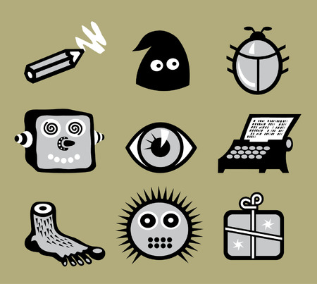 Set of weird, absolutely unpractical icons, unsuitable neither for office nor for home  Vector