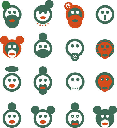 Fabrica mundi 1  Set of very simple signs depicting various pop-culture heads  Vector
