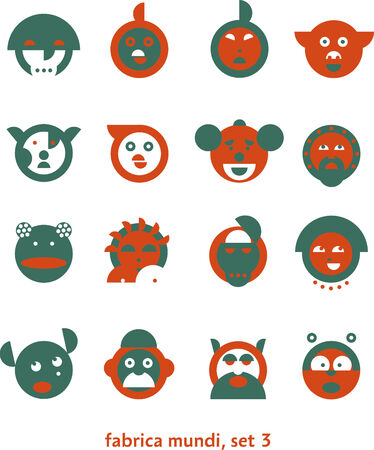 mundi: Fabrica mundi 3  Set of very simple signs depicting various pop-culture heads  Illustration