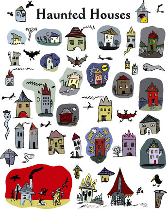 multiple house: 38 haunted houses for everyday use  Bats, ghosts, witches included  Illustration