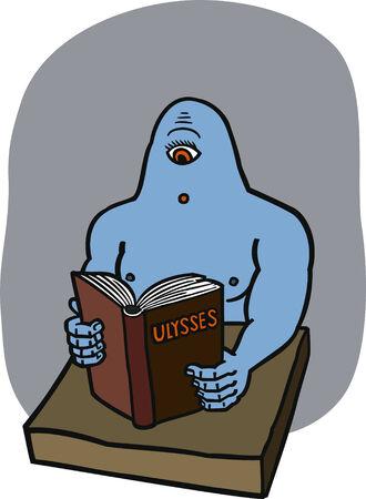 homer: Cyclops reading Ulysses  Illustration