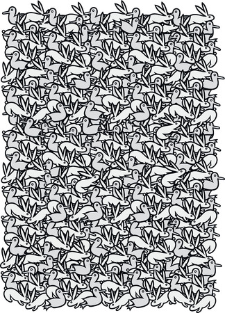 Springtime pattern - black and white