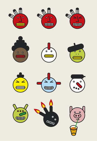 Funny icon faces  Vector