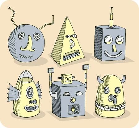 Several old-school robot heads  Vector