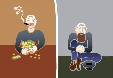 Rich and poor illustration
