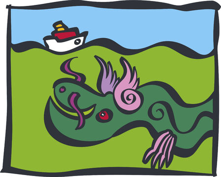 Funny sea monster swimming underwater and detecting ship sailing above him  Vector
