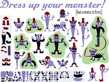 Dress up your monster  Set of varied monsters designed as construction kit Stock Vector - 28037477